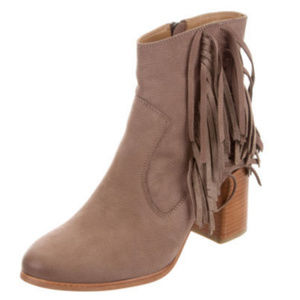 Suede Fringe Brown Heeled Ankle Boots
